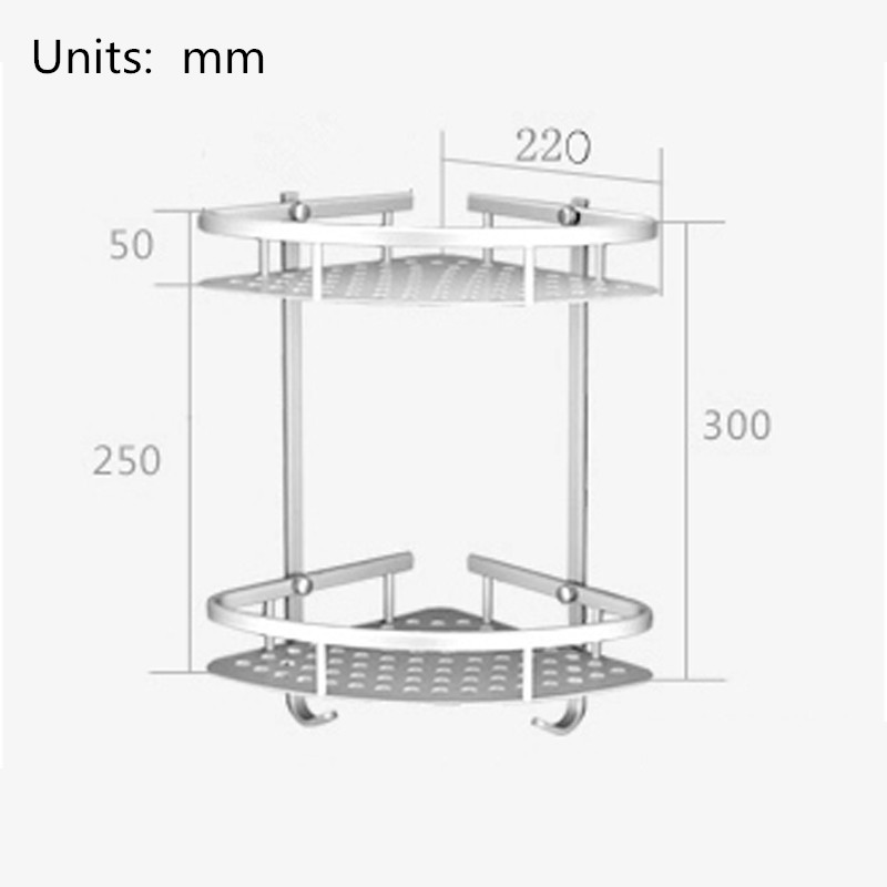 Hot Sale Space aluminum Bathroom Shelf Two Layer Wall Mounted Shower ...