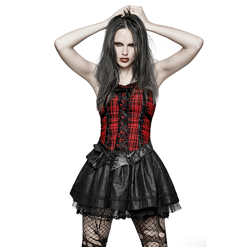 Punk A Type Splicing Braces Fluffy Cute Plaid Dress Gothic Party Style Red Plaid Wrapped Chest Bandage Lace Pompon Dress