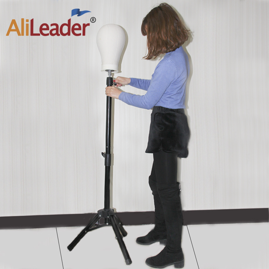 AliLeader Wholesale Black Adjustable Tripod Wig Stand Mannequin Training Head Wig Stand Holder Wig Tripod Stand Good Quality