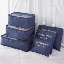 6 pçs saco de armazenamento de viagem conjunto para roupas arrumadas organizador guarda-roupa mala bolsa de viagem organizador caso sapatos embalagem cubo saco