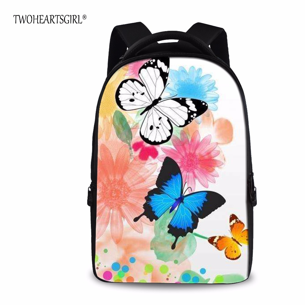 TWOHEARTSGIRL Pretty Black Butterfly Backpack for Children Good Quality Teen Girls School Backpack Primary Middle Kids