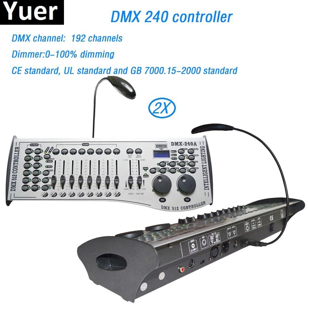 2 pcs lote padrao internacional dmx 240 controlador 192 canais dmx console de controle dj discoteca