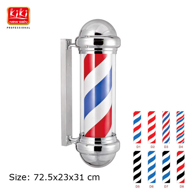 KIKI.311D size Barber Pole.Salon Equipment.Barber Sign Pole AUTOMATIC ROTATION BARBER SIGN POLE WITH LAMP