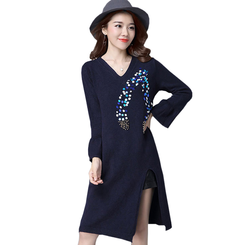 Women Sweater Dress 2016 New Fashion Flare Long Sleeve Sexy V-Neck Sequins Beading Knitted Casual Winter Dress vestido de festa elegant v neck long sleeve beading women s long cardigan