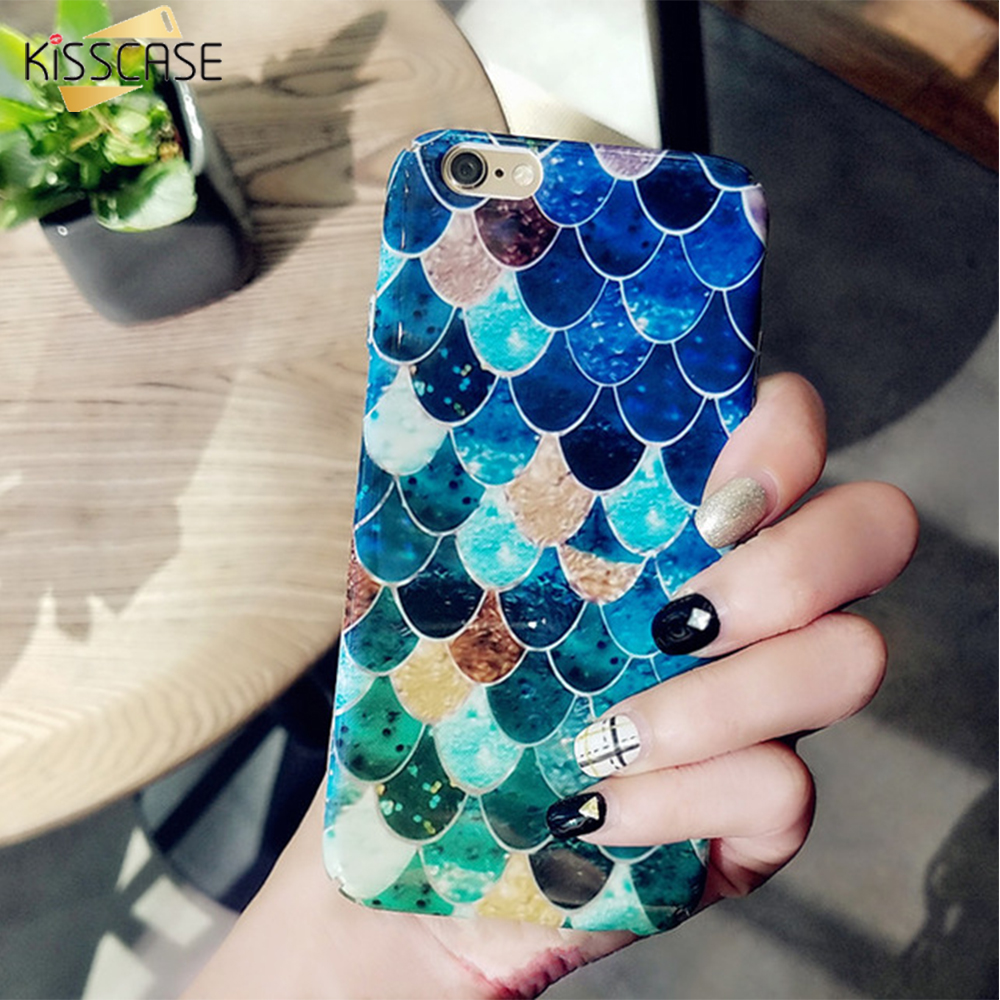 KISSCASE 3D Fish Scale Case For iPhone 6 6S 7 Plus 5S Case For Samsung S8+ S7 Edge Xiaomi Mi5 Mi6 Huawei P10 P9 Plus Hard Cover
