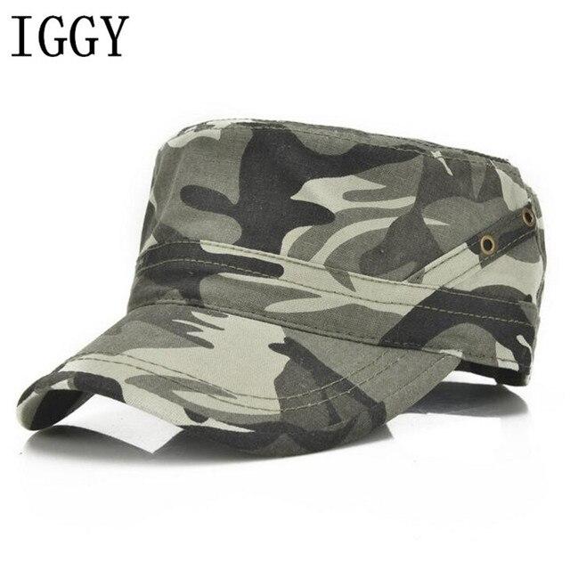 Men Baseball Caps Black Army Green Camouflage Flat Top Hats Cotton Snapback Flat  Cap Army Cadet de489c32b23
