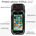 Lovemei para iphone 7 7 plus bainha de metal case vida tampa para iphone7 7 360 além de alumínio à prova de choque à prova d' água com vidro case