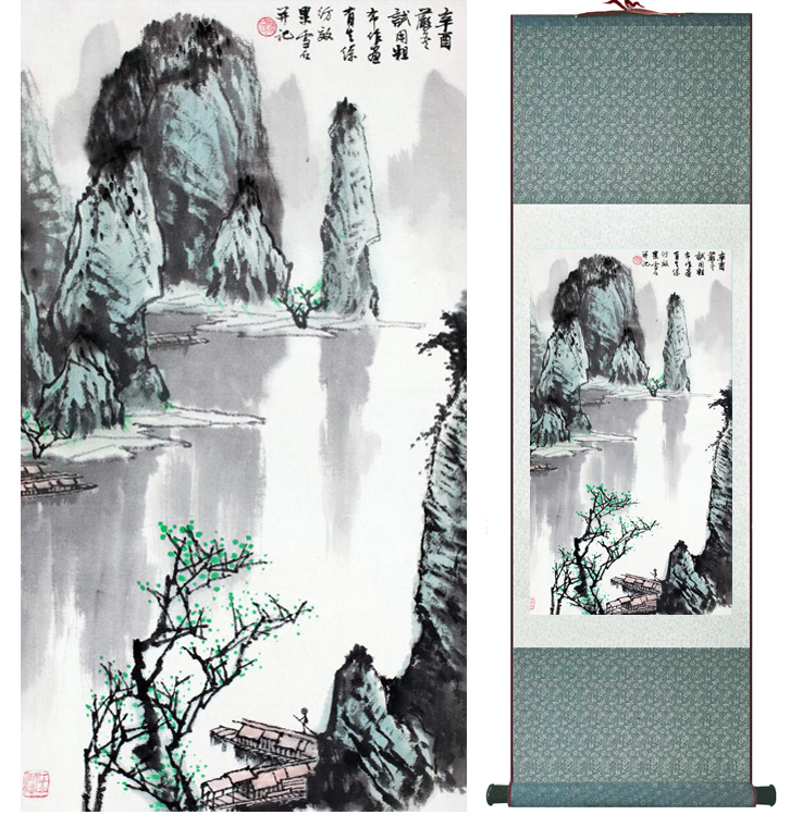 landscape painting Home Office Decoration Chinese scroll painting mountain and River paintingPrinted painting042307