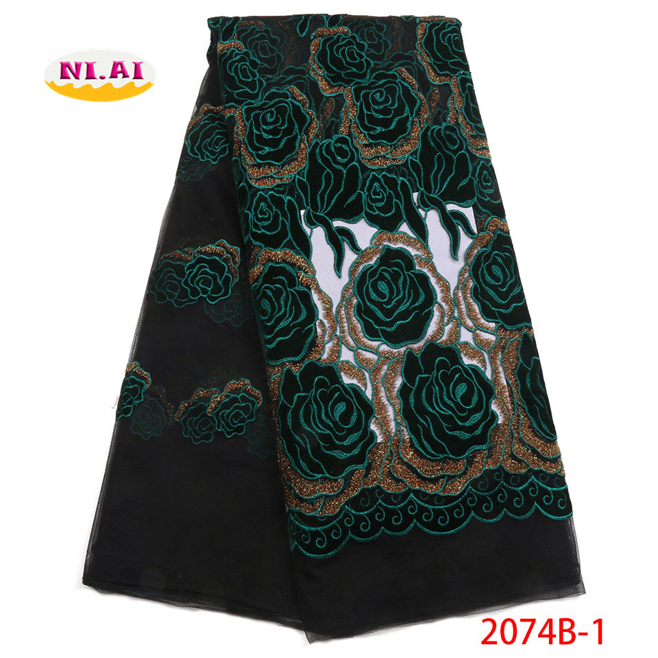 African Velvet Lace Fabric Lace Dress Teal Green Fabric High Quality French Lace Fabric MR2074B