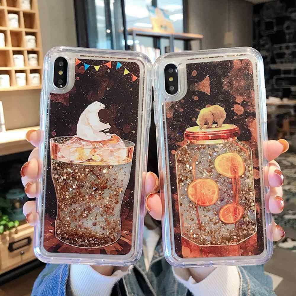KISSCASE для Xiaomi mi 9 8 A2 Lite чехол бутылка медведь с изображениями искрящихся влажным блеском подвижными блестками Мягкий чехол для Red mi Примечание iPhone 7 6 Plus 5 iPad Pro Чехол Coque