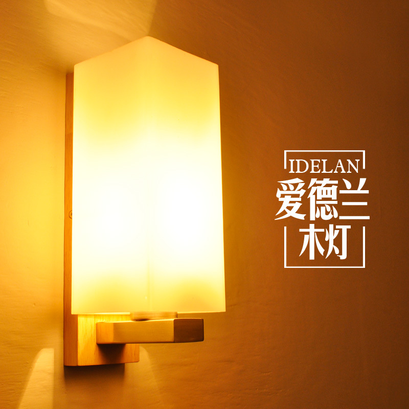 Nordic wood art wall lamps creative modern bedroom bedside balcony aisle porch hotel cafe wood loft wall lamp light bra fashion nordic living room bedside wall lamp porch balcony porch light solid wood creative light simple black and white