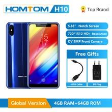 HOMTOM H10 Đỉnh Cao Màn Hình 4GB 64GB Điện Thoại Di Động Android 8.1 Mặt ID 4G 5.85 Octa Core 3500MAh 16MP Bên Vân Tay Thông Minh