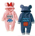 Cartoon Hooded Rompers ropa mickey Bebe Long Romper Baby Boy Girl Clothing roupa infantil newborn jumpsuit recem nascido