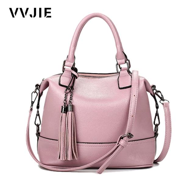 VVJIE Brand Fashion Split Leather Handbags For Women Bolsa Feminina Female Shoulder Satchels Tassel Bags Womens Casual Tote