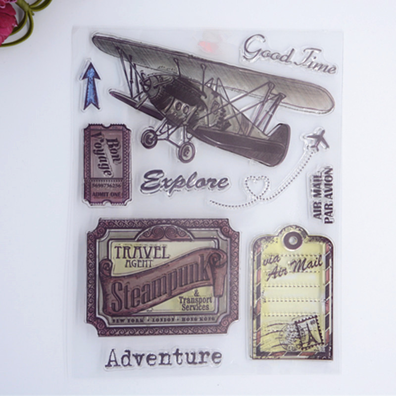 2016 New Scrapbook DIY Photo Album Cards Transparent Acrylic Silicone Rubber Clear Stamps color Plane wyf1017 scrapbook diy photo album cards transparent silicone rubber clear stamp 11x16cm camera