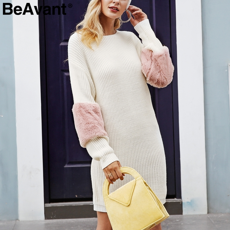 6eb205cc3566 Aliexpress.com : Buy BeAvant Casual loose spliced sweater dress women O  neck shift knitted dress autumn 2018 Long sleeve winter dress female  pullover from ...