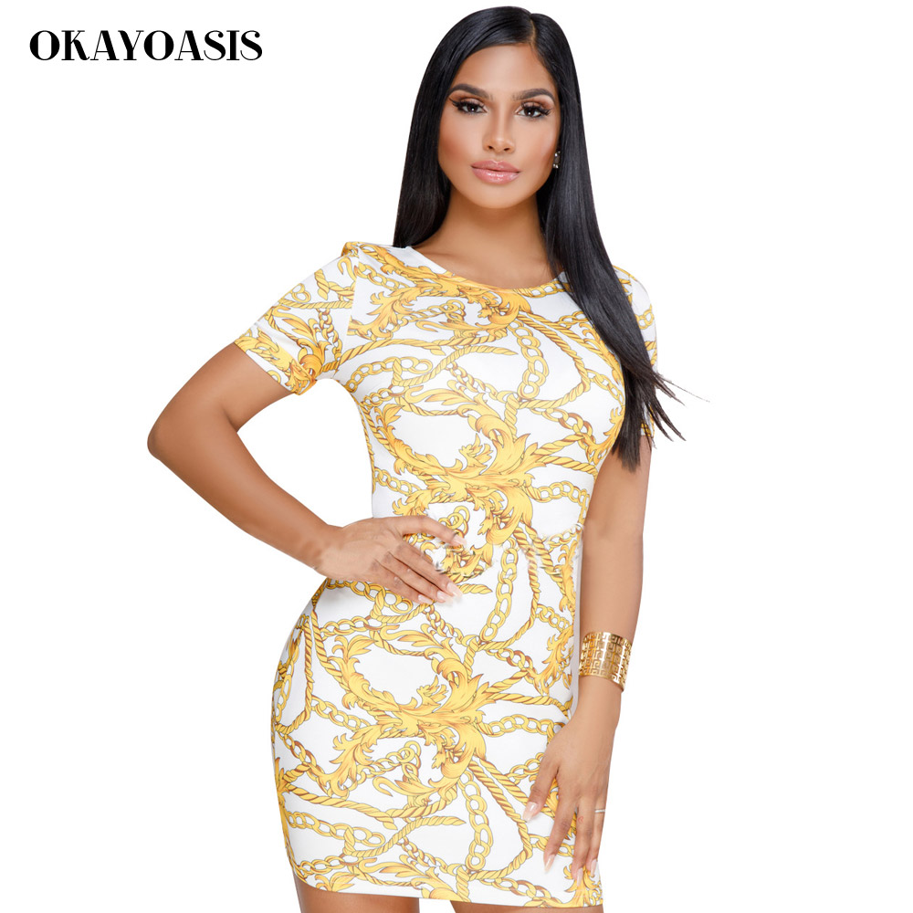 OKAYOASIS Chain Print Vintage Summer Dress Women Fashion O Neck ... f5c9fb99e66f