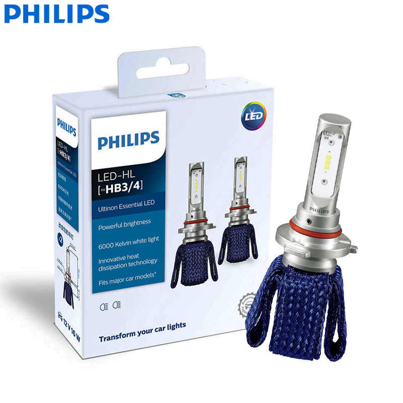 Philips Ultinon Essential LED 9005 9006 HB3 HB4 12V 11005UEX2 6000K Car LED Headlight Auto HL Beam ThermalCool (Twin Pack)
