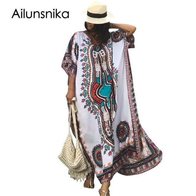 Ailunsnika Для женщин летние белые африканские этнические Принт Кафтан Макси-платье Лето 2017 г. свободные Винтаж Boho Пляжное длинное платье M352