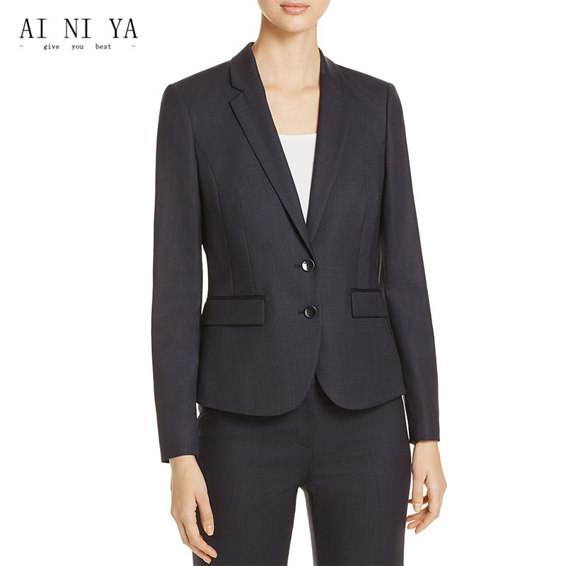 Jacket+Pants Women Business Suits Peak Lapel Two Buttons Slim Fit Female Trouser Suits L ...