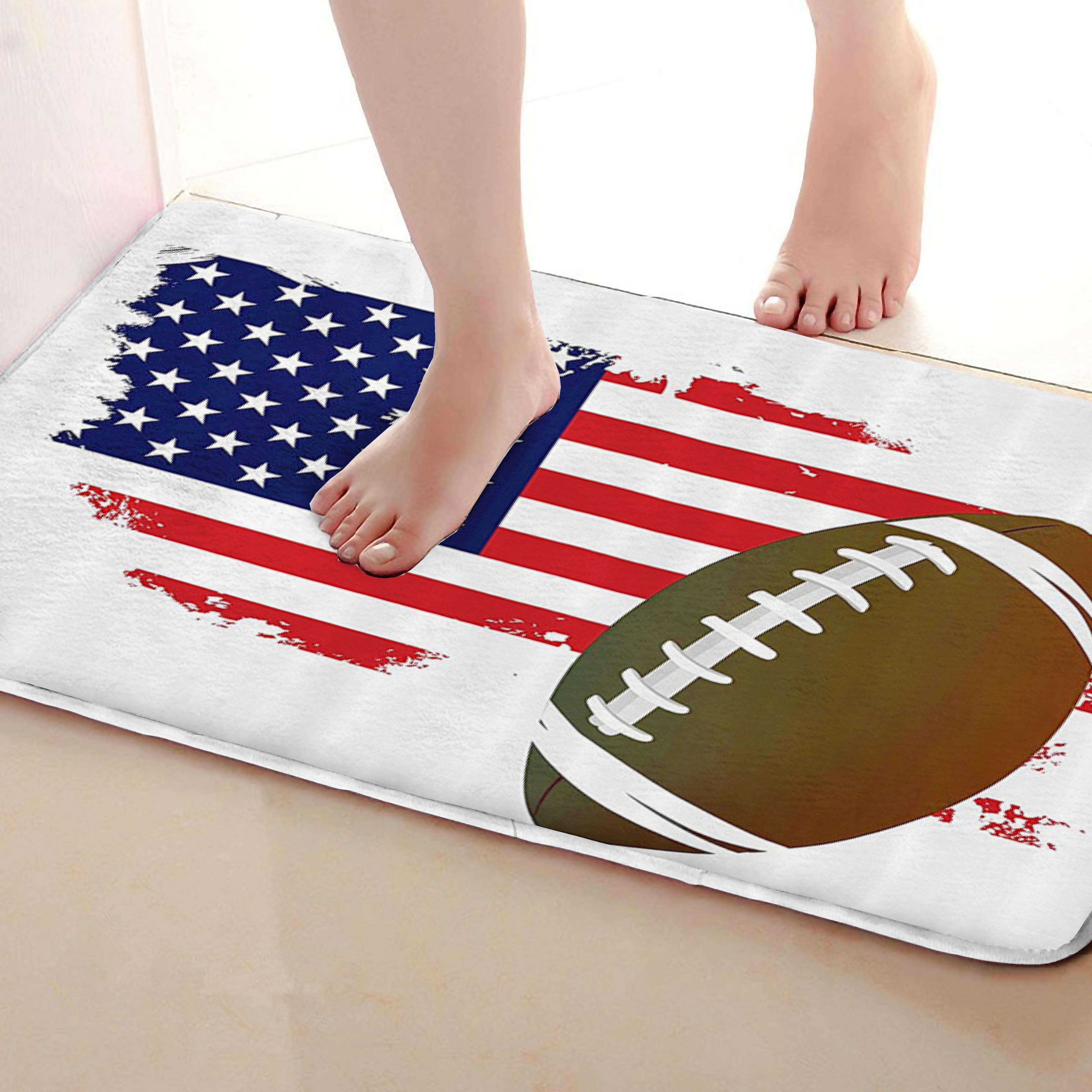 Football Style Bathroom Mat,Funny Anti Skid Bath Mat,Shower Curtains Accessories,Matching Your Shower Curtain