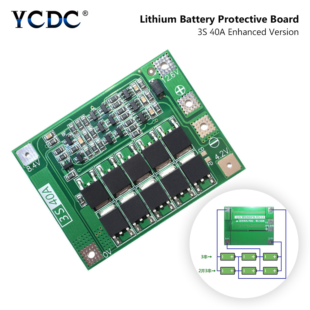 3S 40A Li-ion Lithium Lipo Battery 18650 Charger Protection Board BMS PCB 11.1V 12.6V Cell Charging Protective Module No Balance image