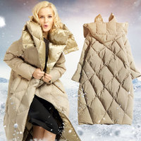 2017 New Winter Cocoon Type Hooded Down Jacket Women White Goose Down Coat Jacket Warm Long