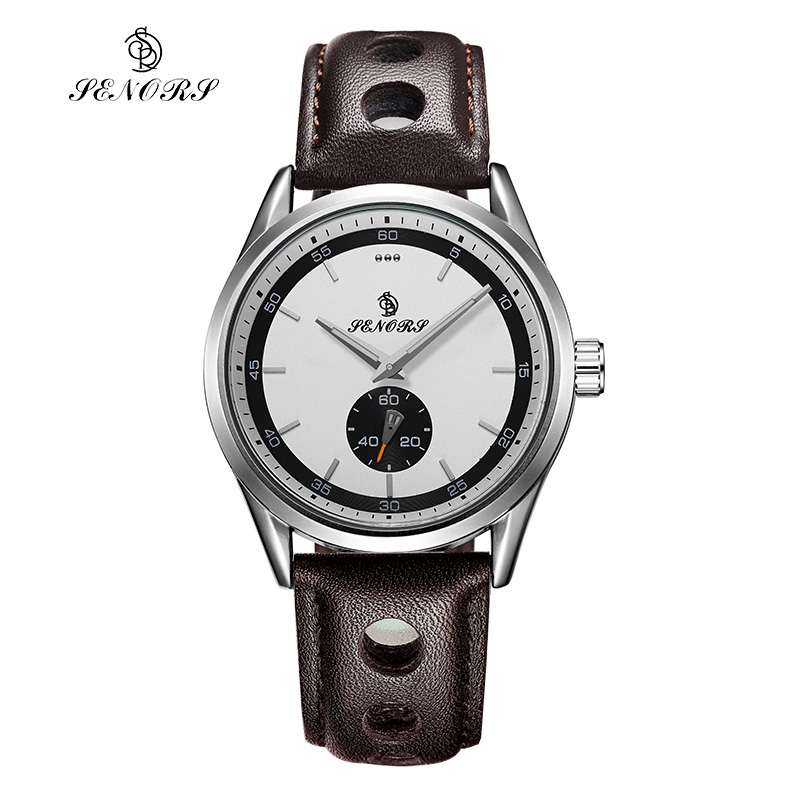 SENORS Chronograph Men Casual Sports Watch Black Leather Bracelet Quartz Watches Stainless Steel Back Analog braun chronograph sports watch