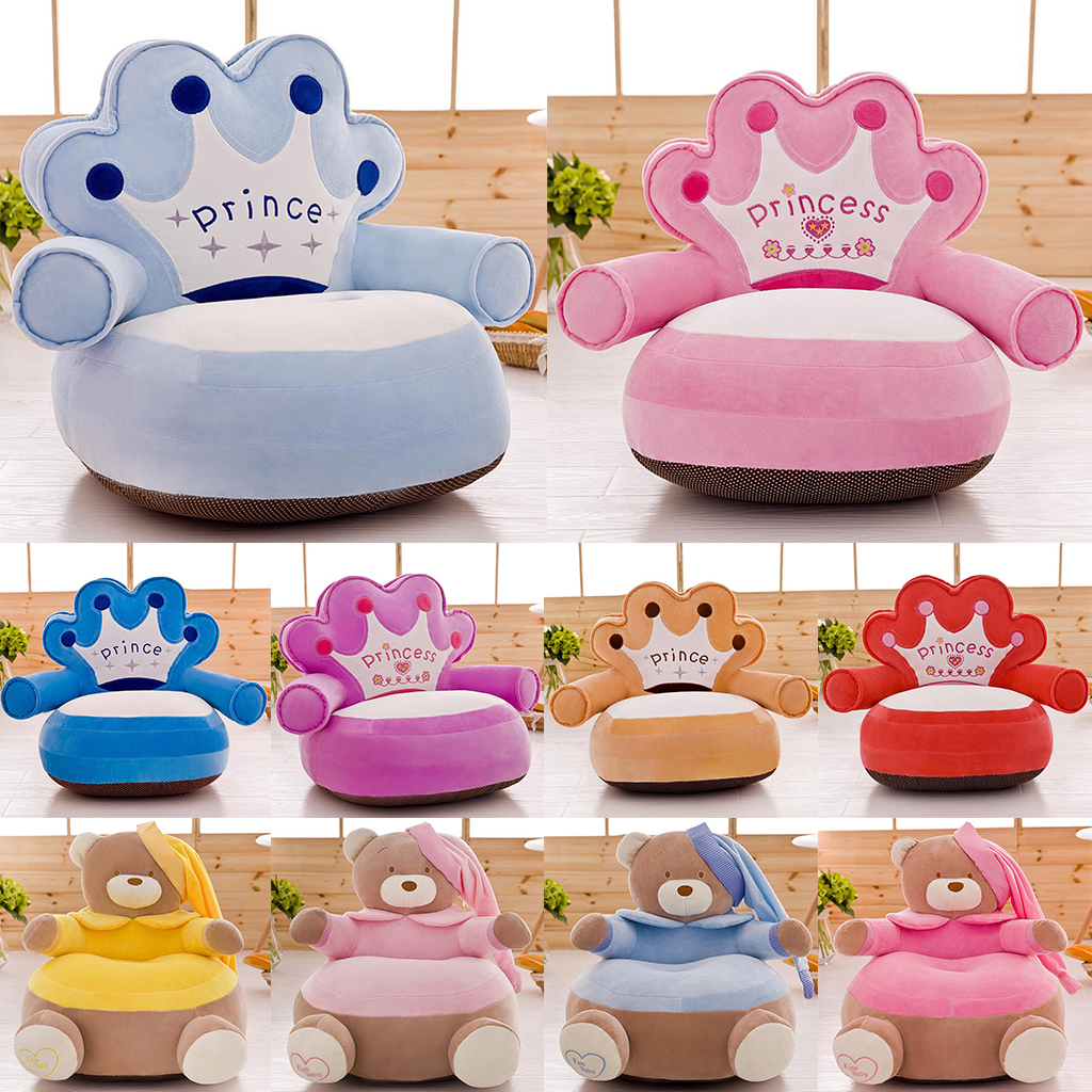 Cute Comfortable Baby Children Cartoon Armchair Seat Cover Kids Chair Neat Toddler Bean Bag Chair For Sofa Gifts Presents
