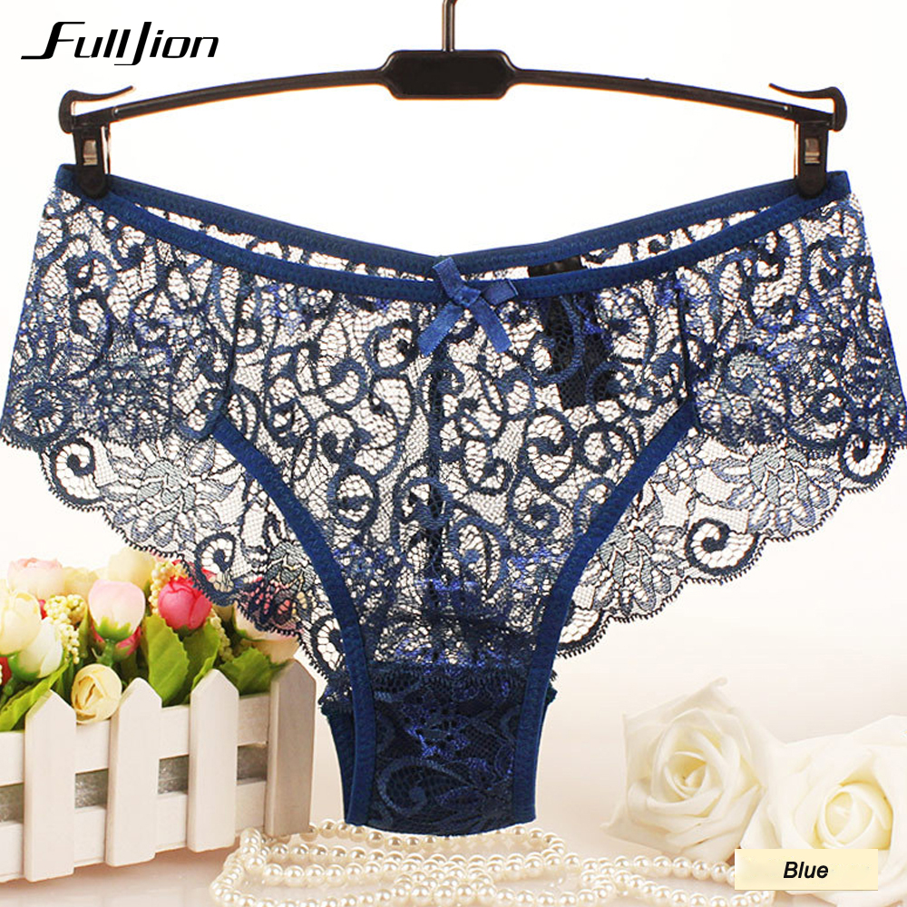 Fulljion Sexy Women Lace   Panties   Underwear Lace Briefs S M L XL Women Underwear Transparent Floral Bow Soft Briefs Underwear