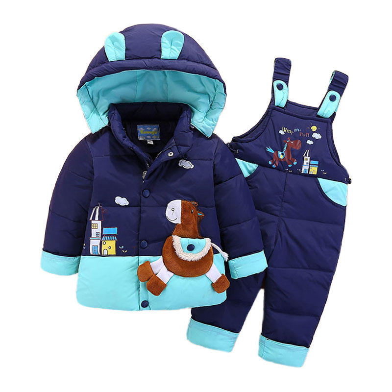 Down Jacket For Girl Boy Kids Snowsuit Winter Jacket Overalls Children Outerwear Toddler Baby Park Jumpsuits Coat Pant Set 2-4Y цена 2017