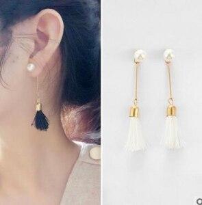 Bohemian style new jewelry ladies small black and white tassel earrings ladies imitation pearl long earrings girls carnations