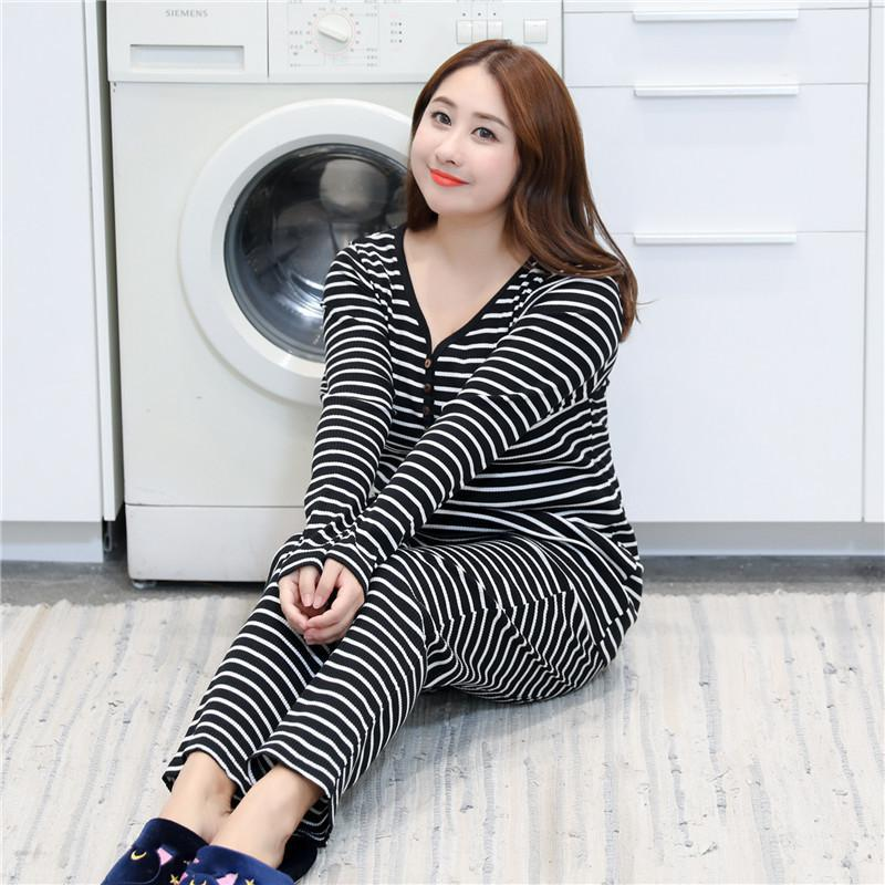 Black Stripe Shirt&Shorts 2PCS Sleepwear Cotton Casual   Pajamas     Set   Women V-Neck Home Wear Large Size Lingerie Negligee XXXL