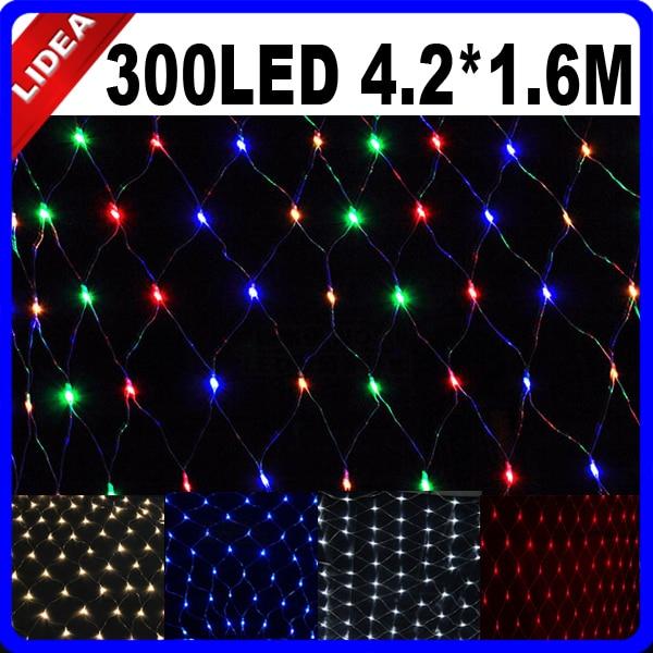 4.2*1.6M 300 LED Party Wedding Garden New Year Net Mesh Garland LED Christmas Decoration Outdoor Fairy String Light HK C-37