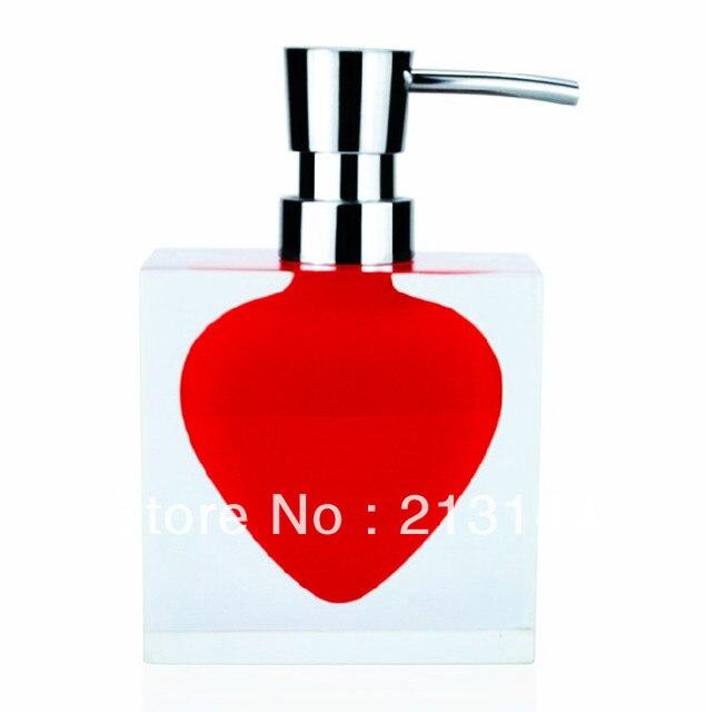Hand Soap Dispenser Dispensers Colorful Resin Red Hart Art Decor Liquid Bathroom