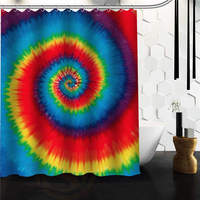 Fashionable Design Colourful Tie Dye Pattern Waterproof Polyester Fabric Shower Curtain 60 X 72 48 X