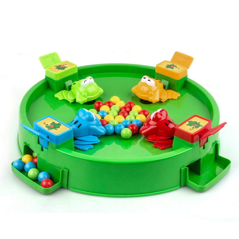 1PCS Frog Eat Bean Toy Big Puzzle Grab Bead Three People Multi-parent-child Interactive Enlightenment Toy