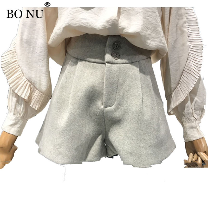 BONU High Woolen Casual Shorts Pants women Elegant Casual Botton Black Gray Boot Cut Slim Short pants femme trousers for Women