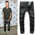 NEW ARRIVAL 2017 HIGH QUALITY STRAIGHT SOLID BLACK SLIM JEANS MEN,ZIPPER FRONT FLY FASHION STRAIGHT JEANS,SIZE 30-40