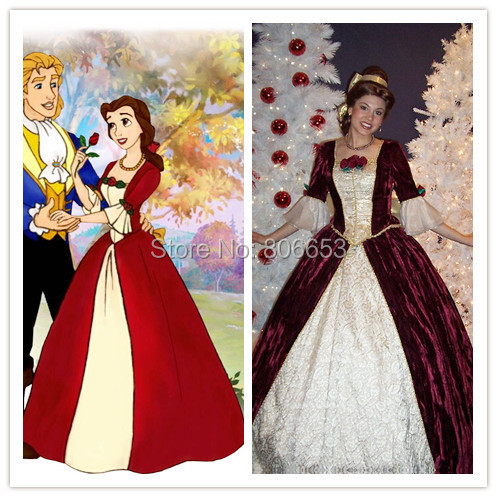 2015 beauty and the beast dress princess belle dress halloween christmas belle cosplay costume cartoon movie - Christmas Belle Movie