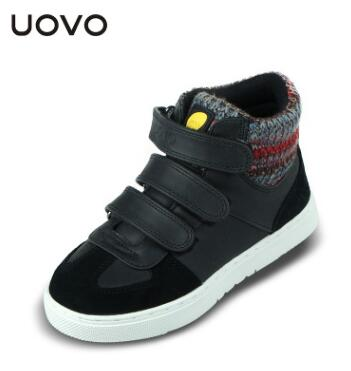 UOVO Children Winter Shoes kids Warm walking shoes Boys Girls snow shoes Mid-Cut Footwear for Kids winter flat sneakers glowing sneakers usb charging shoes lights up colorful led kids luminous sneakers glowing sneakers black led shoes for boys