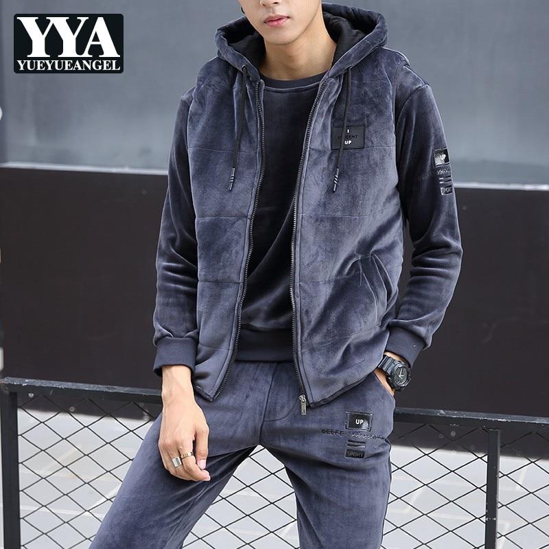Winter Mens 3pcs Velvet Tracksuit Hoddie Vest Coat Sweatshirt Pants Suits Casual Joggers Fitness Sets Fashion Warm Track Suit