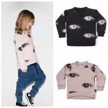2017 Nouveau NUNUNU Enfants Manches Longues T-shirts Enfants Automne Hiver Garçons Filles Yeux T-shirts Sweats Enfants Vêtements