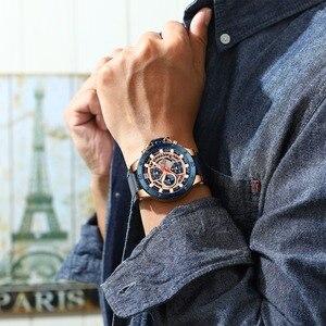 Image 3 - NAVIFORCE Uhren Neue Top Marke Luxus Military Quarzuhr Für Männer Chronograph Leder Wasserdichte Uhr Männlich relogio masculino
