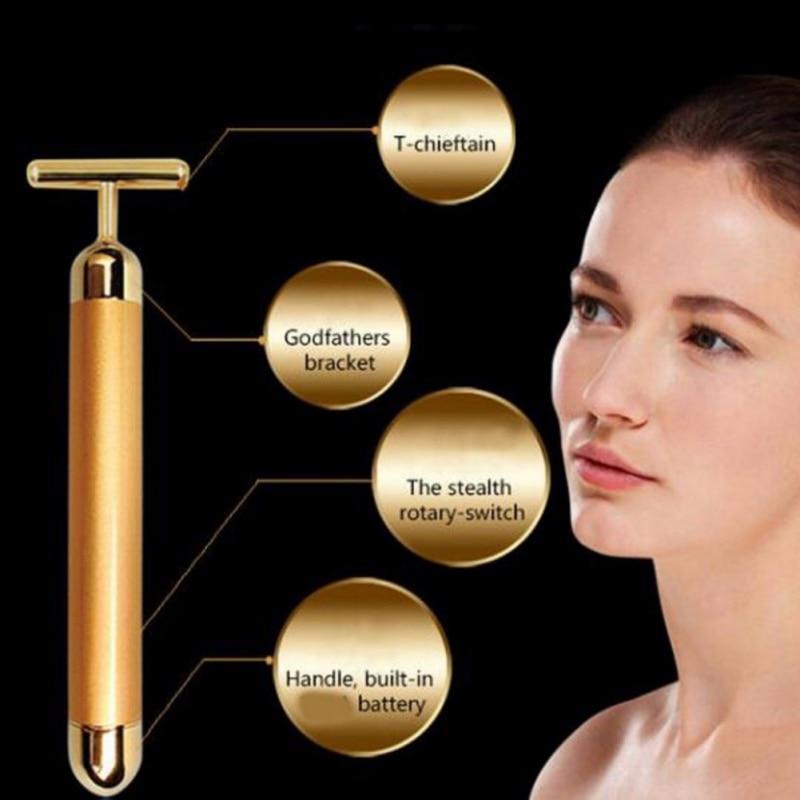 Gesicht Gold Vibration Gesichts Schönheit Roller Massager Stick Lift Hautstraffung Falten Stick Bar Gesicht Hautpflege Werkzeuge
