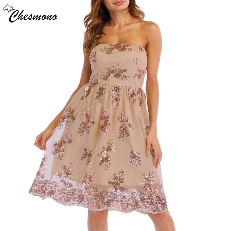 Black pink Sexy Bustier Party Dress 2018 floral Cute Women Mesh Overlay Sequins Summer Dress Strapless Sheer Cut Out Dresses