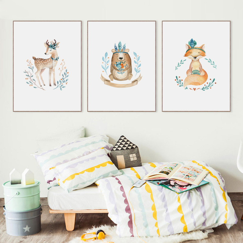 Nordic Cute Cartoon Animal Fox Deer A2 A3 A4 Canvas Art Abstract Painting Print Poster Picture Wall Children Bedroom Home Decor