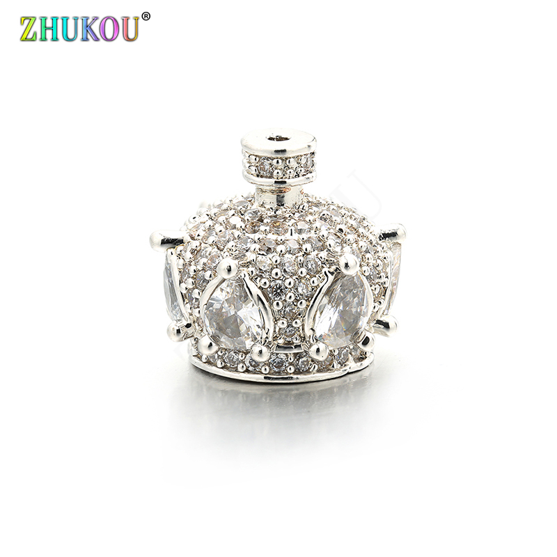 12*11mm High Quality Brass Cubic Zirconia Crown Tassel Caps  Diy Jewelry Findings Accessories, Hole: 0.5mm, Model:VM25