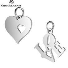 10pcs/Lot 316L Stainless Steel Charms Silver Color Cut Out Heart Love letters Charms Pendants for Jewelry Making DIY Handmade(China)