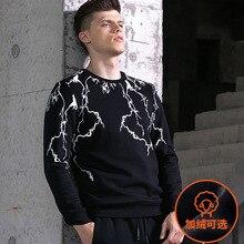 2019 simple and trendy spring autumn winter mens plus velvet  pullover print round neck clothing men